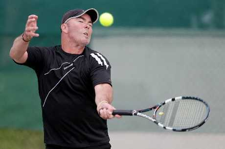 Otumoetai's Jason Young's powerful groundstrokes off the forehand were a factor in a Kiwifruit Coast seniors tennis tournament finals win alongside Peter Blow at Gate Pa.