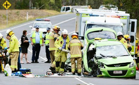 Two vehicles were involved in an accident at Thagoona on the Karrabin-Rosewood Road.