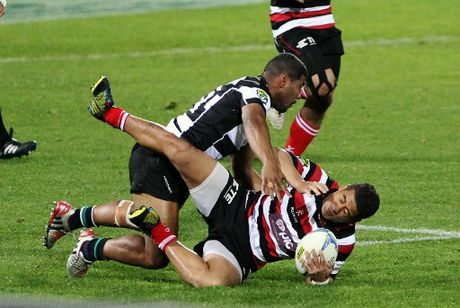Winger Tino Nemani puts a big hit on Fritz Lee in the Magpies&#39; empathic win over Counties-Manakau last night.