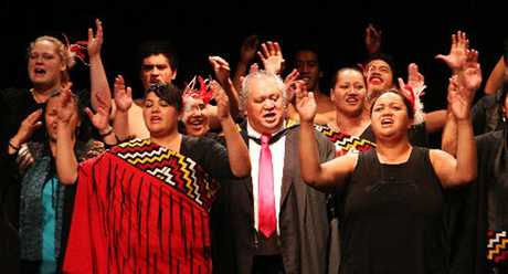 REWARDED: Tama Huata, centre, during the graduation of Te Wananga Whare Tapere o Takitimu, at the Playhouse Theatre in Hastings in April. Mr Huata was in Wellington at the weekend to accept a Te Waka Toi Award.