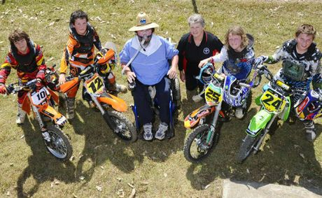 Grafton Ex-Services Motor Cycle Club members (from left) Jackson Doy, Brady Willis, secretary Narelle Rankin, Jack Lilley and Jakes Ellis with Becker's muscular dystrophy sufferer Dan Lilley The club donated $3500 to Dan, from proceeds of the July 22 motocross event.