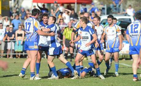 A bit of feeling in the NRRRL first grade grand final between Grafton Ghosts and Murwillumbah.