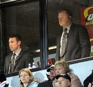 CONCERNED DUO: Magpies coaches Danny Lee, left, and Craig Philpott during the early stages of Friday night's win against Counties-Manukau. They're aiming for a better start in Friday night's Ranfurly Shield challenge.