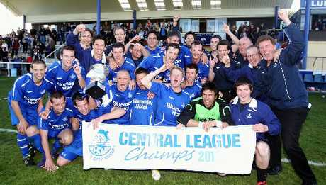 WE'RE THE CHAMPIONS! Napier City Rovers celebrate after claiming the Central League soccer bragging rights yesterday in Napier.