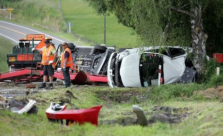 HIDDEN MENACE: A car transporter crash on State Highway One south of Taihape last December. Researchers believe fatigue is a factor in many highway crashes.