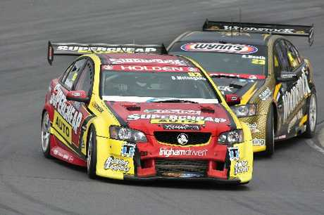 SPEED: Scott McLaughlin (behind) is setting the pace in Taupo.