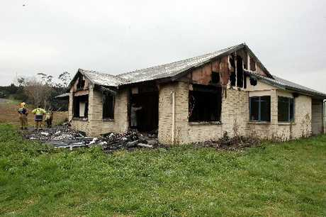 An empty farmhouse in The Lakes subdivision was gutted by fire.