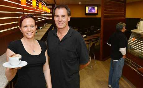 Heidi Dechnik and Arnold Kretschmer invite people to check out the new-look cafe in Goldfields Plaza, which has had a name change to Rendezvous Cafe.