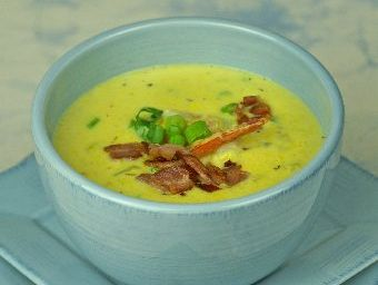 Prawn and corn chowder with bacon is a good winter recipe. 