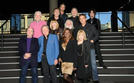 The stars of the concert series Long Way to the Top. Back row: Jon Stevens, third row, from left: Col Joye, Mark Williams, Doug Parkinson and Steve Balbi. Second row, from left: Dinah Lee, Brian Cadd and Ian Moss. First row, from left: Glenn Shorrock, Lucky Starr, Marcia Hines and Little Pattie (Patricia Amphlett).