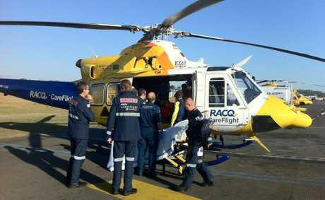 RACQ CareFlight treating a fisherman who lost a lot of blood following a swordfish injury.