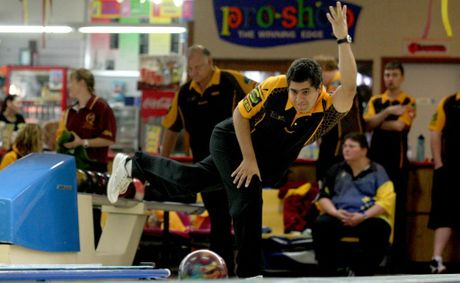 Lionel Kenyon lets one rip at Tweed Ten Pin Bowls.