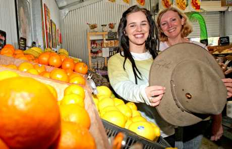 Emily Cotelli and Donna Flanagan in the &#39;Vege Shed&#39; at Murwillumbah.