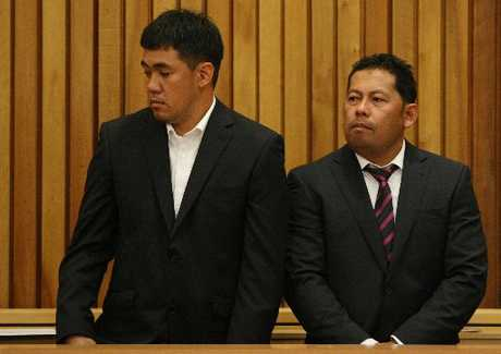 Navigation officer of the Rena, Leonil Relon and Captain of the Rena, Mauro Balomanga at their sentencing, Tauranga District Court.