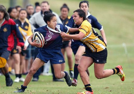 ON THE EDGE: Crystal Walters in action for Rotorua Girls&#39; High School earlier this year. Walters touched down twice for Bay of Plenty secondary school girls team against Counties Manukau.
