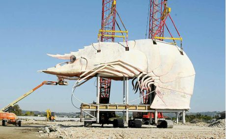 UP, UP AND AWAY: The Big Prawn at West Ballina is moved to its new location, also at West Ballina.