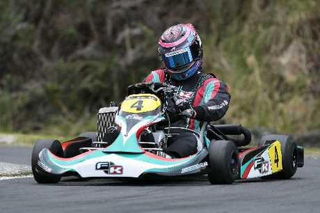 STRONG PACE: Tauranga's Niki Urwin was a top contender in the Australian Rotax Nationals last weekend but an incident in the final left him in 10th place.