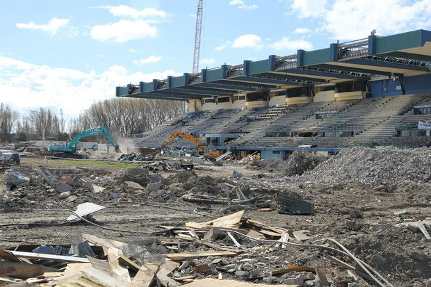 Demolition work is underway at QEII Stadium