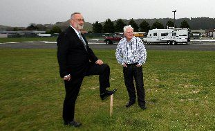 STAKE-OUT: Bernard Hickey (left), Taradale Club president, and John Hanlen, of development company Jemvest, on the club land sold for a residential housing project. PHOTO/GLENN TAYLOR HBT123695-01  