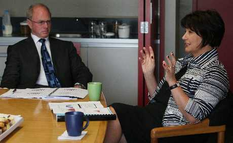 Education Minister Hekia Parata meeting with Otumoetai College principal Dave Randell yesterday.