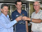 Condamine Sports Club president Guy Sugden, golf clubhouse manager Nathan Bell and Warwick Golf Club president Don Stewart celebrate a significant business deal.