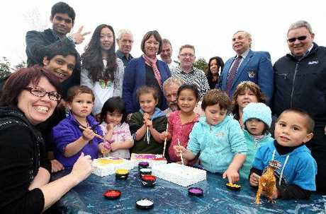 A new initiative has come to town which will see young children painting and using safety rocks to stay safe around reversing vehicles. Pictured is Safety Rock team leader Julie Millar (left) with sponsors and children from St Francis Whanau Aroha Early Childhood Centre