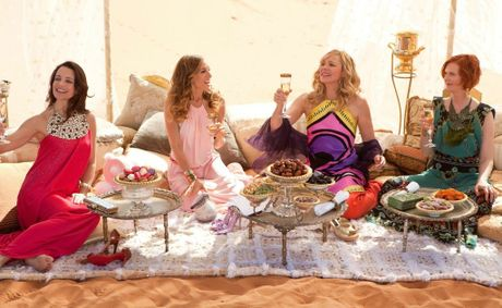 Charlotte (Kristin Davis), Carrie (Sarah Jessica Parker), Samantha (Kim Cattrall), and Miranda (Cynthia Nixon) in Sex and the City 2.
