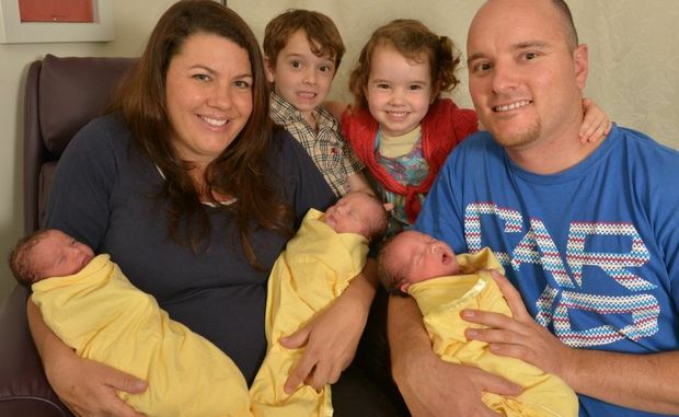 Chenoa Trama gave birth to triplets Isaac Daniel, Dylan David and Ailah Elizabeth, husband Daniel Trama and Jordan, 5 and Amali, 3.
