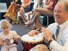Local MP Andrew Fraser gets into the rhythm at the Coffs Harbour Regional Conservatorium.