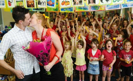 Jacob Andrews surprised Latasha Gane yesterday in front of the staff and students of Copmanhurst Public School by asking for her hand in marriage at assembly.