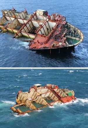 A 250 tonne chunk of the Rena was ripped off the wreck and fell into the sea. Images show the ship before and after the piece came off the ship.