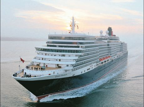Queen Elizabeth: 90,900tonnes, 294 metres long, 10 bars, clubs and lounges, 2068 passengers and 1005 crews.