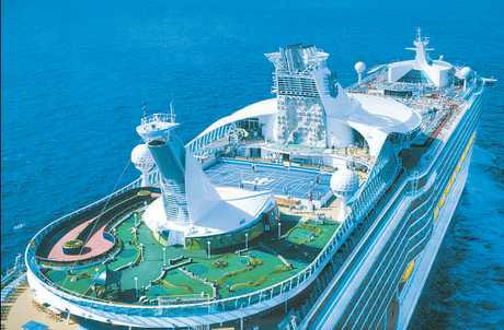 Voyager of the Seas: 138,000 tonnes, 311 metres long, 15 bars, clubs and lounges, 10 pools and whirlpools, 3840 passengers and 1181 crew.