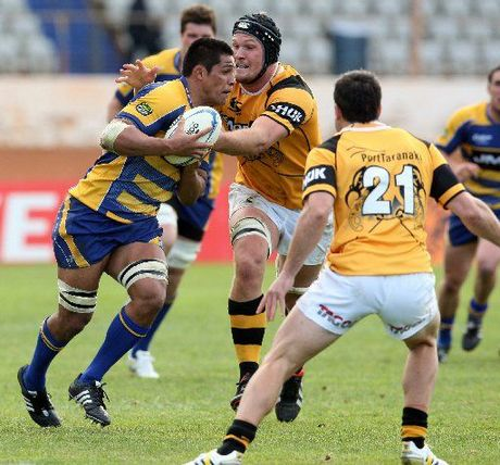 PUSH OFF: Steamers captain Tanerau Latimer in action against Taranaki. Latimer will lead the side out against Waikato in Hamilton tomorrow.