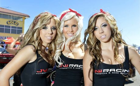 JW Racing promo girls Natasha Pantic, Brittany Thomson, Sherie Pantic at the Powercruise event at Queensland Raceway. Photo: Claudia Baxter / The Queensland Times