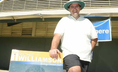 Richie Williamson spent part of polling day at Grafton High School handing out how to vote cards and talking to voters.