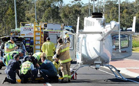Emergency crews treated a motorbike rider at a crash on the Bruce Hwy, but he later died in hospital.