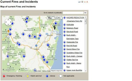 A map on the RFS website showing where the fires are.