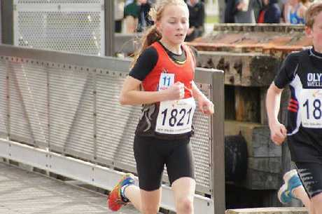 DOUBLE TITLE: Mya Graham (11) in action at the New Zealand Road Race Championship winning the 12 and under title