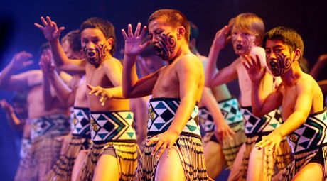 Otumoetai Intermediate School Kapa Haka group perform for thousands of intermediate athletes during the opening ceremony for Aims Games inside the TECT Arena at Baypark.