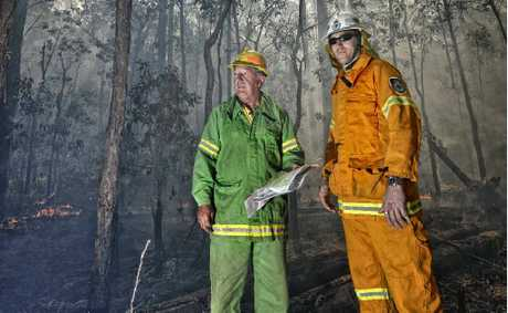 Division Commander Forests NSW David Blair and Rural Fire Service's Matt Inwood in Candole State Forest.