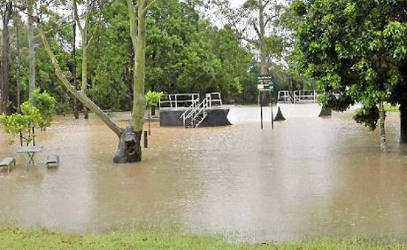 A submerged park in Cooroy following the torrent that fell on the town in February.
