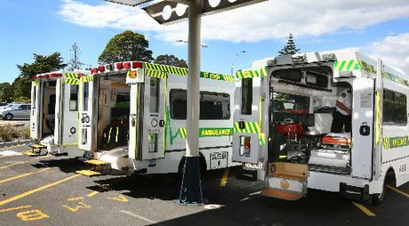 Ambulances line up outside Tauranga Hospital.