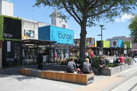 Shops and converted shipping container businesses in the City Mall, Cashel Street 