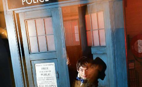 Eddie Booth plays up as the Doctor in a full-size replica TARDIS housed at the Old Flour Mill as part of the Inventors' Fair.