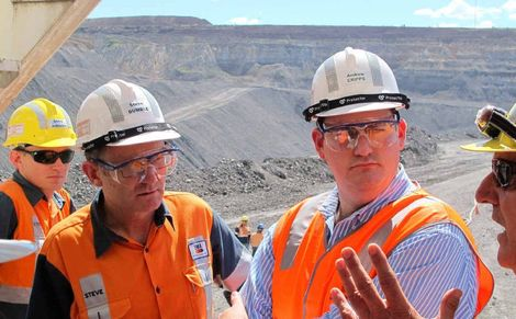 BMA asset president Stephen Dumble on a site tour with new Mines Minister ...