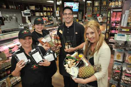 Rebecca Mugridge, right, is writing recipes for Maleny IGA using fresh and local ingredients. She is pictured with staff (L-R) Karlie Svenson, Kate Lynch and Sam Davies. Photo: Brett Wortman / Sunshine Coast Daily