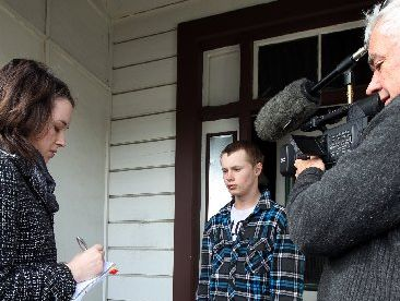 Matt-Dillion Shannon, pictured speaking to media the morning after setting a friend on fire with petrol last year, was found guilty on charges relating to the incident. Photo / File