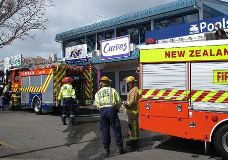 Kerikeri firefighters at the scene of a ceiling fire in a women's gym.