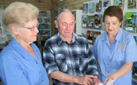 CAUSE FOR CONCERN: Biloela Information Centre volunteers Marilyn Roberts, Eric Vernon and Barbara Badman are worried about future of the centre if shopping centre developments go ahead.